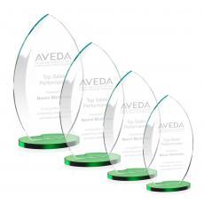 Custom-Engraved Crystal Awards - Windermere Award - Green