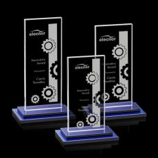 Custom-Engraved Crystal Awards - Santorini Award - Blue