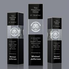 3D Crystal Awards with Laser Etching - Caradosso Tower Award - 3D