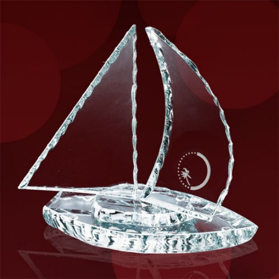Chipped Sailboat w/Curved Sails Award - Starfire