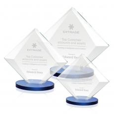 Custom-Engraved Crystal Awards - Teston Award - Blue