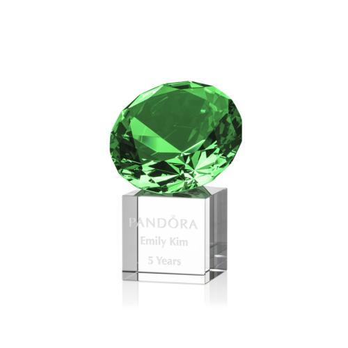 Gemstone Award on Cube - Emerald