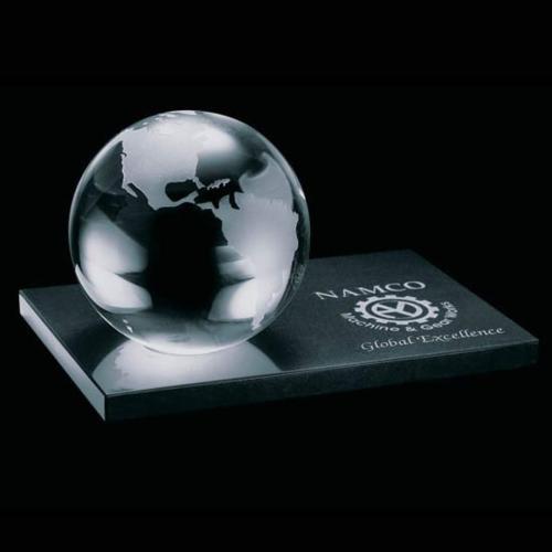 Globe Award on Rect Marble Base