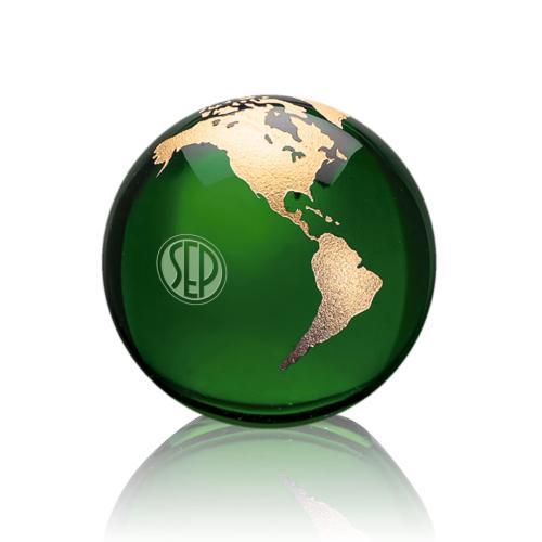Globe Paperweight - Green