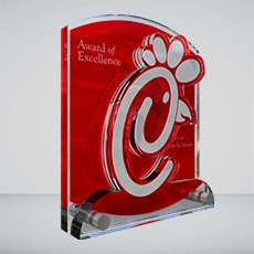 Custom Acrylic Award Example - chick fil a